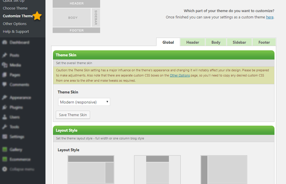 Theme Options > Customize Theme : Overview