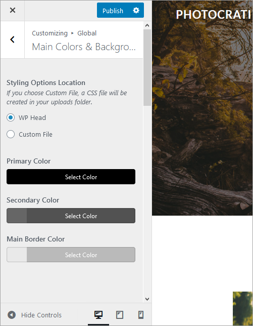 Main colors and background, color settings