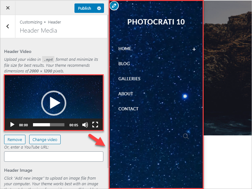 How to setup a header video, it shows the video on the left side and the header area with that same video background