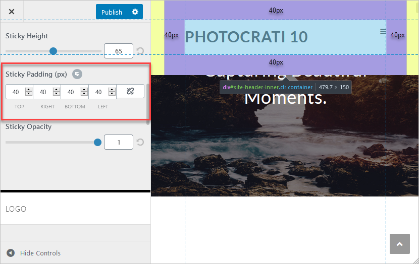 This screenshot shows how to establish padding in your header.