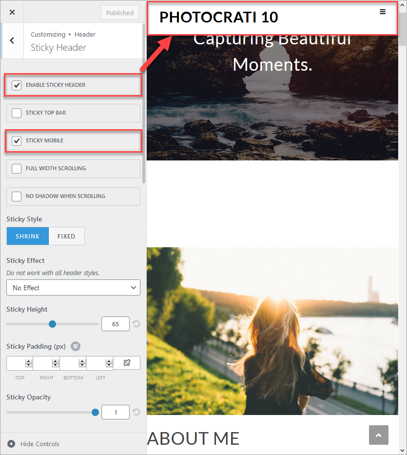 This image shows the Sticky header and Sticky mobile options enabled.  On the right side, there is a picture of a girl with a sunset.