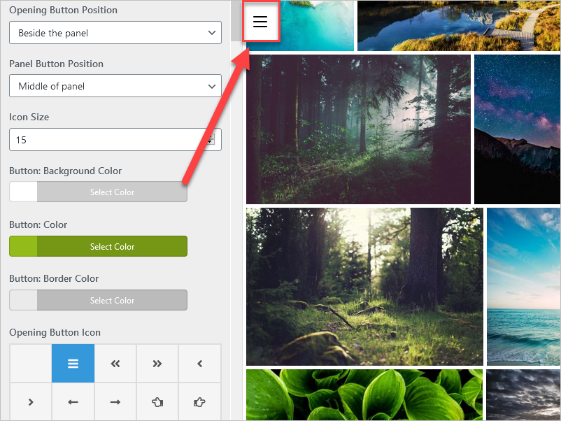 A screenshot of the option to setup the background color of the button on the side panel.