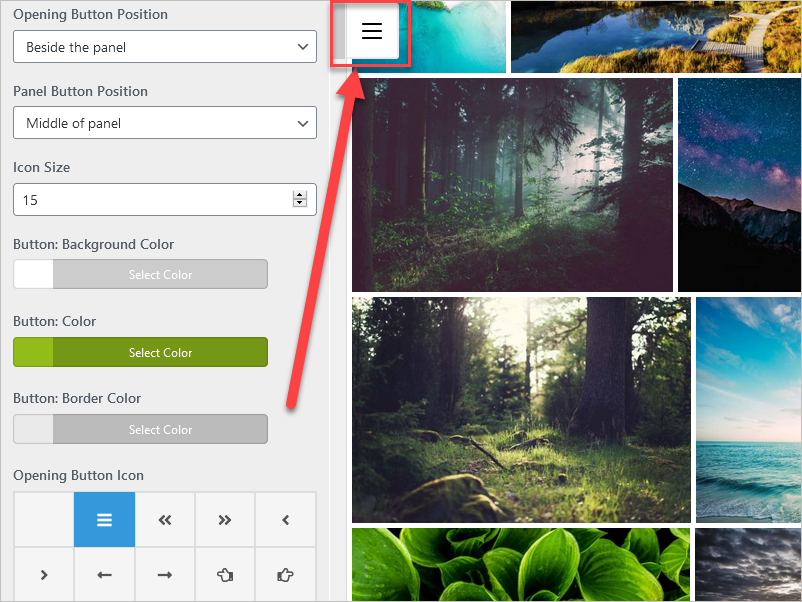 """A screenshot showing the option """"Button: Border color"""", it shows the border of the side panel button in light gray."""