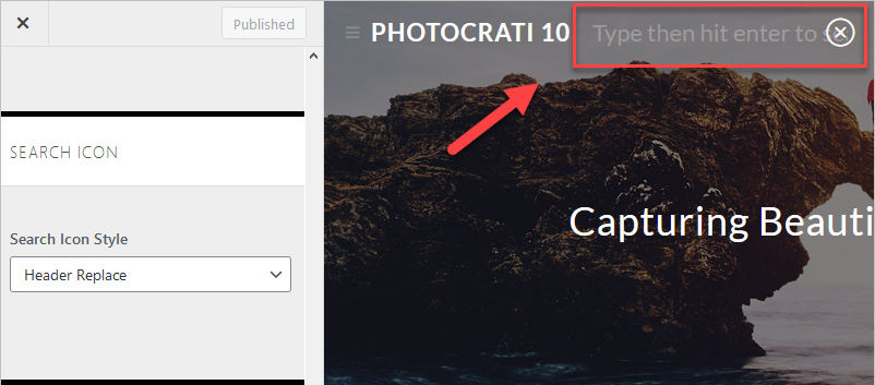 Header replace style for searching